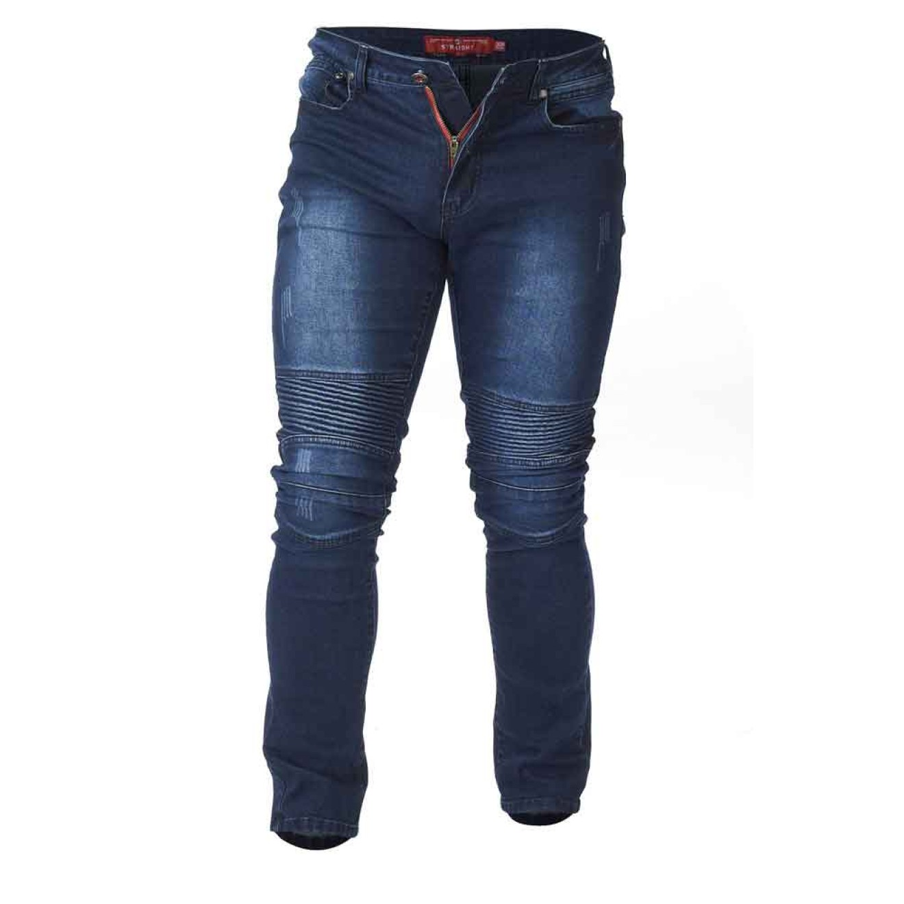 DUKE extra lange High Stretch Biker Style JEANS, tall size W32 W40 L38, Herrenjeans in Überlänge, tapered fit (konisch) vintage blue