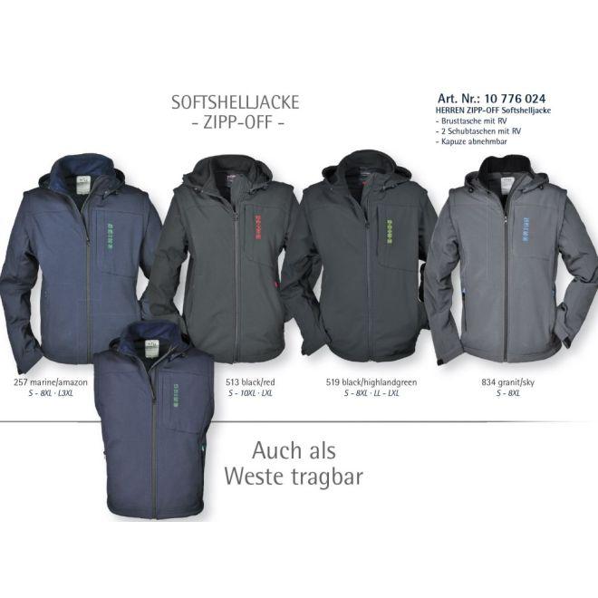 BRIGG elastische 2 in 1 Softshelljacke, Zipp Off Softshell Jacke mit abnehmbarer Kapuze & Ärmeln (auch als Weste tragbar) Outdoor Jacke, Größe