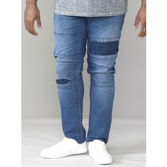 D555 by DUKE High Stretch JEANS Biker Style in Überlänge, W32-W42 L38, extralange, stark elastische stonewash TALL Herrenjeans, tapered fit (konisch) 98% BW 2% EL